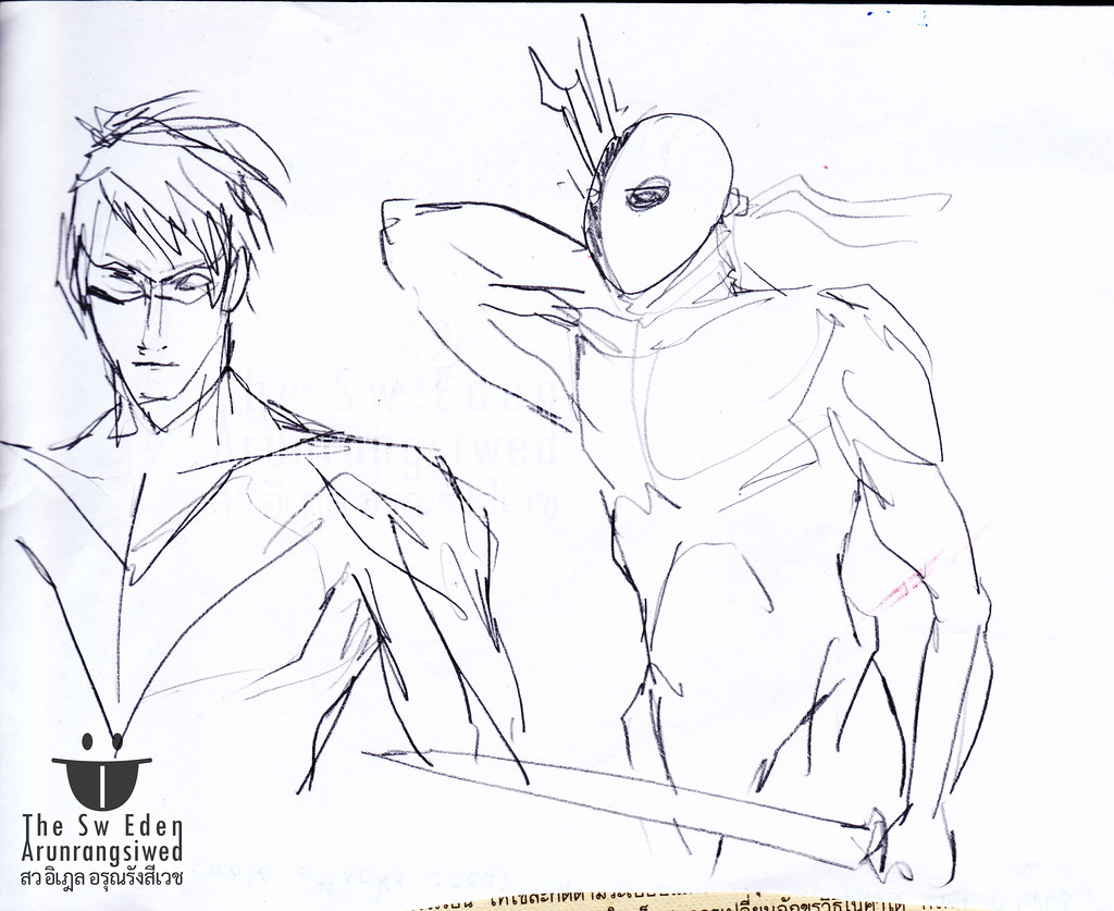 Nightwing Dick Grayson and Deathstroke Slade Wilson DC Comics character sketch drawing pencil penciling artwork page