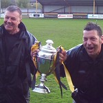 Manager Billy Anderson & Assistant Mike Cormack with league championship trophy (Fraser Newlands)