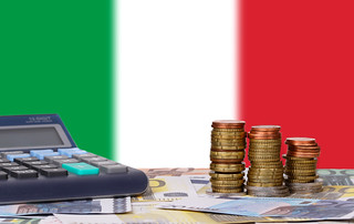 Calculator with money and coins in front of flag of Italy