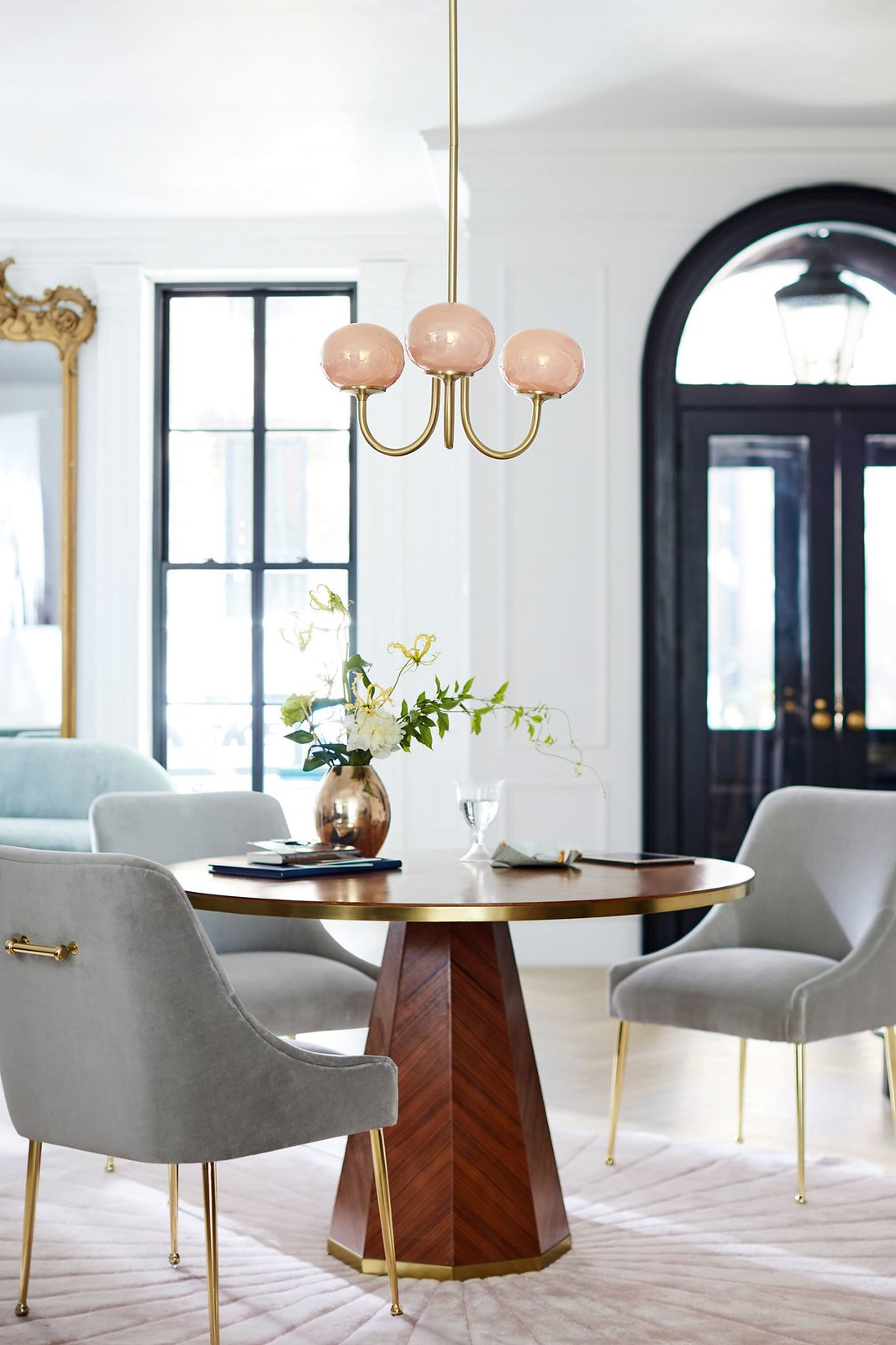 Clean Modern Home Decor | Anthropologie Velvet Elowen Chair |Light Gray Velvet Chairs | Velvet Dining Room Chairs | Velvet Dining Chairs | Dining Room Inspiration | Dining Room Ideas | Dining Room Decor | Globe Chandelier Light Fixture