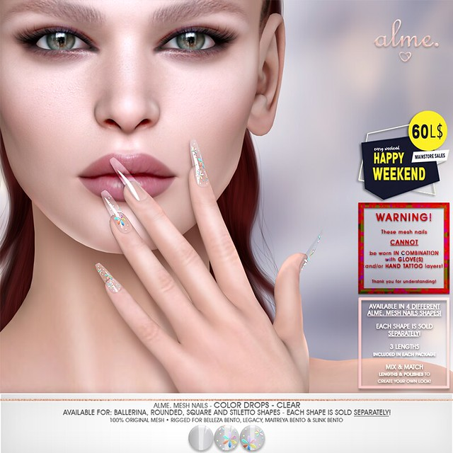 "Alme. for 60L$ Happy Weekend sale May 9-10 ""Alme Mesh Nails// Color Drops- Clear"" in 4 shapes"