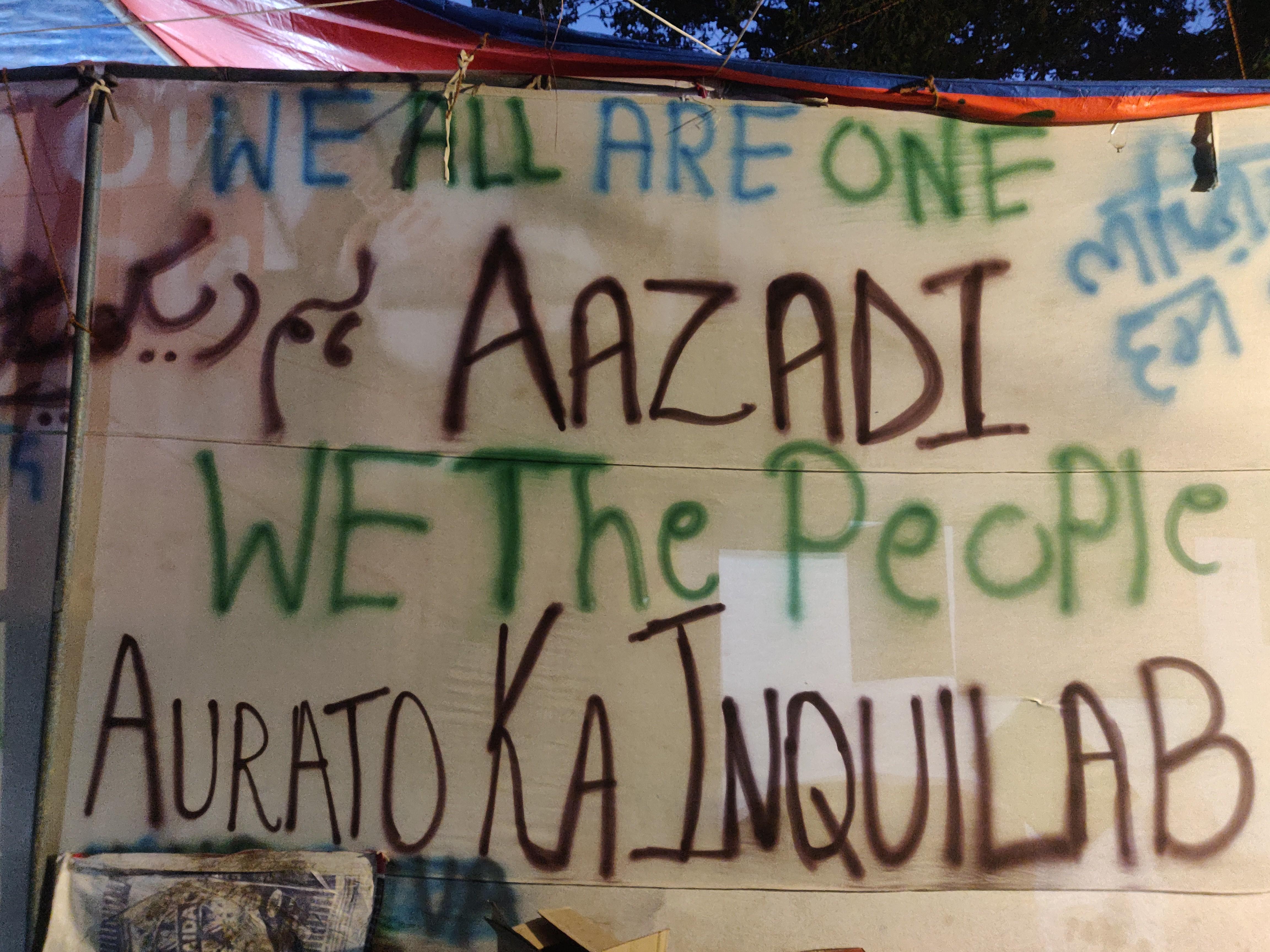Dissent on canvass at the anti-CAA sit-in in Hauz Rani, Delhi, India, 2020 | J-T.M.