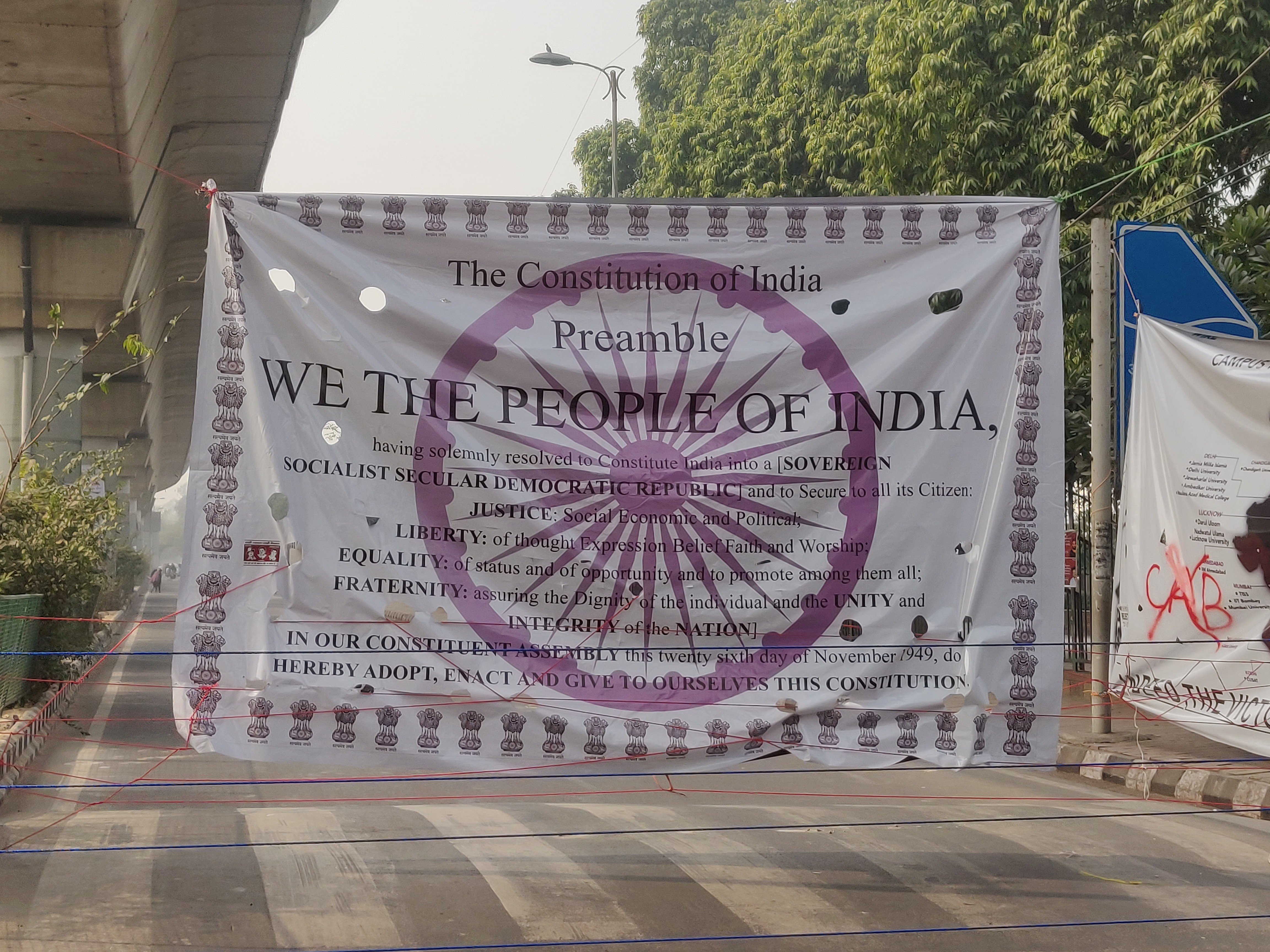 Poster at the anti-CAA rallying point in Jamia Millia Islamia, Delhi, India, 2020 | J-T.M.