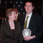 Richard Bowman presented with the Player's Player of the Year by Norma Mackay Andrew Hassan present Ross Campbell with the Supporters Player of the Year (Fraser Newlands)