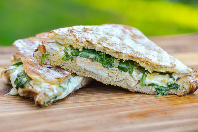 Grilled Chicken Paninis with Mozzarella, Arugula, and Spicy Mayo