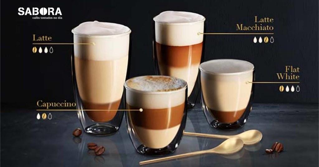 Distintos cafés con leite