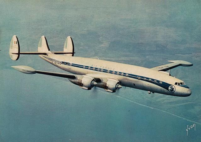 Postcard Air France Lockheed Constellation L1049G-82-98 F-BHBB 1960a