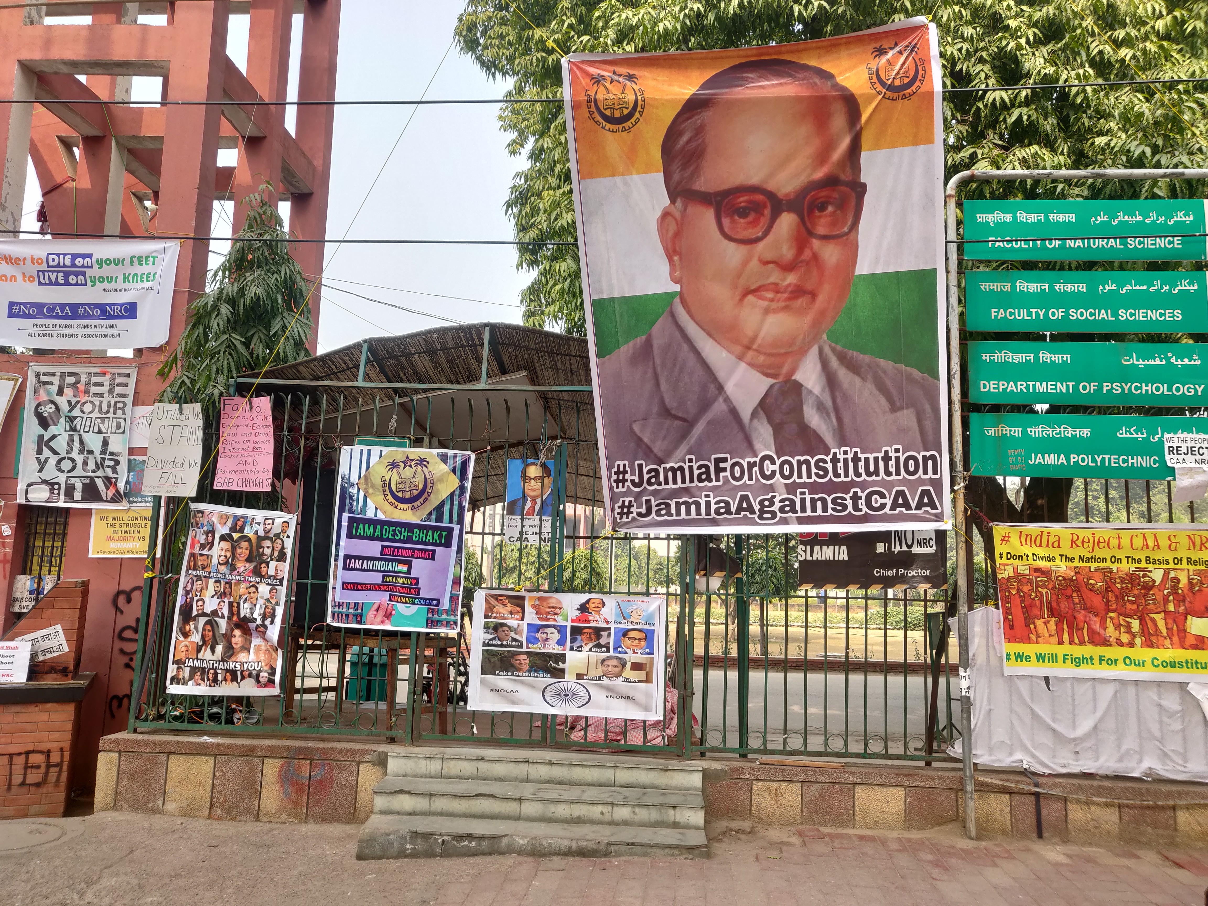 Posters at the anti-CAA rallying point in Jamia Millia Islamia, Delhi, India, 2020 | J-T.M.