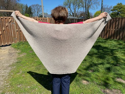 Jen's mom, Judy knit this Herb Garden Shawl, a free Ravelry download pattern by Nettie DiLorenzo. Soft and squishy!