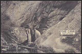 c. 1909 J. Howard A. Chapman (#1350) Postcard - View from the Crows Nest Railway - The Cave, Main Source, Old Man River (now called Crowsnest River), Alberta