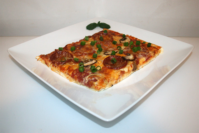 09 - Homemade Pizza - Side view / Hausgemachte Pizza - Seitenansicht