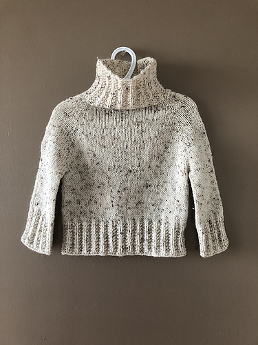 Sweet pullover that Lise (Mattedcat) knit her granddaughter! Pattern is Hot Chocolate by Dani Sunshine. Yarn is Bergere de France Chinaillon.