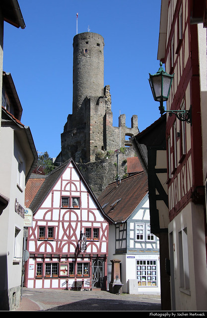 View along Burgstrasse towards Burg Eppstein, Eppstein, Germany