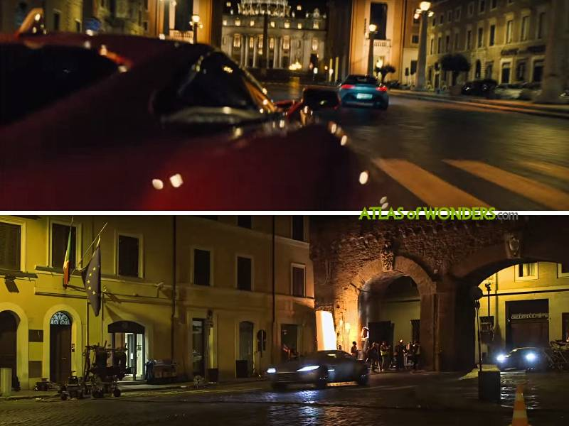 The 007 cars racing in the Vatican