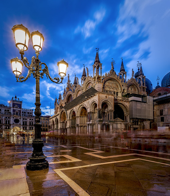 Venice at night after storm