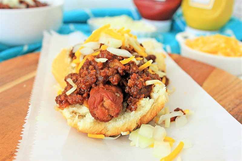 Air Fryer Chili Topped Hot Dogs
