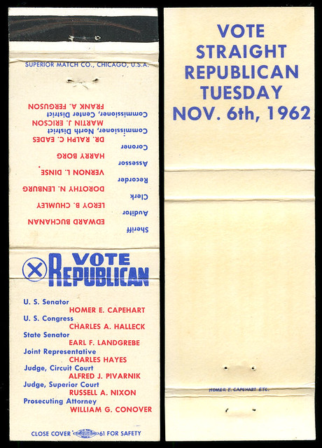 1962 Election, Republican Slate for Porter County, Indiana - Matchcover