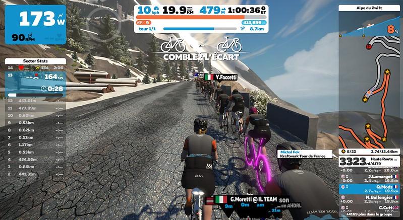"""L'alpes du Zwift pendant l'événement """"Haute Route"""""""