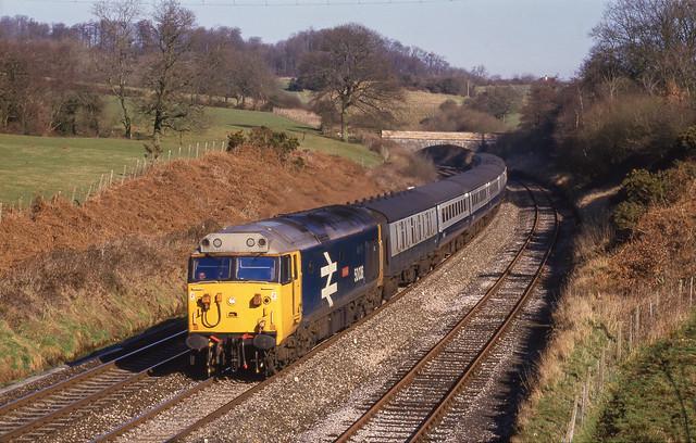50036 Leaves Whiteball Tunnel. 19/02/1987.