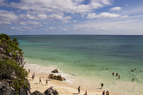 Shades of blue at Tulum Beach, Tulum, Mexico
