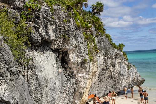 Rock face at Tulum Beach, Tulum, Mexico