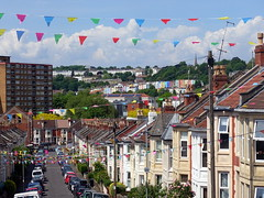 View down a Southville street in Bristol with bunting