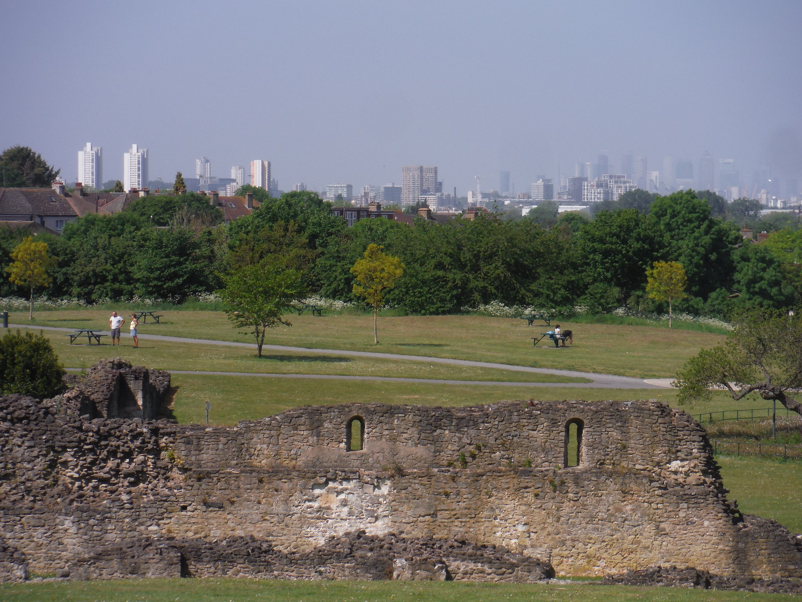 Canary Wharf and City of London beyond the ruins, from Viewpoint SWC Short Walk 43 - Lesnes Abbey Woods with Bostall Woods (Abbey Wood Circular)