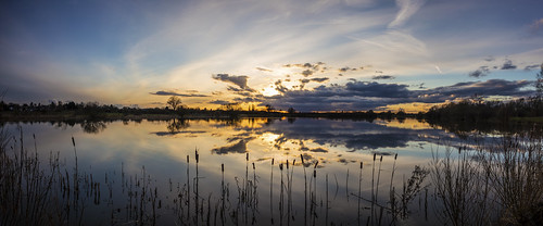 canon6d sunset lake water reflection panorama nature outdoors outside clouds sky sun cambridgeshire uk landscape