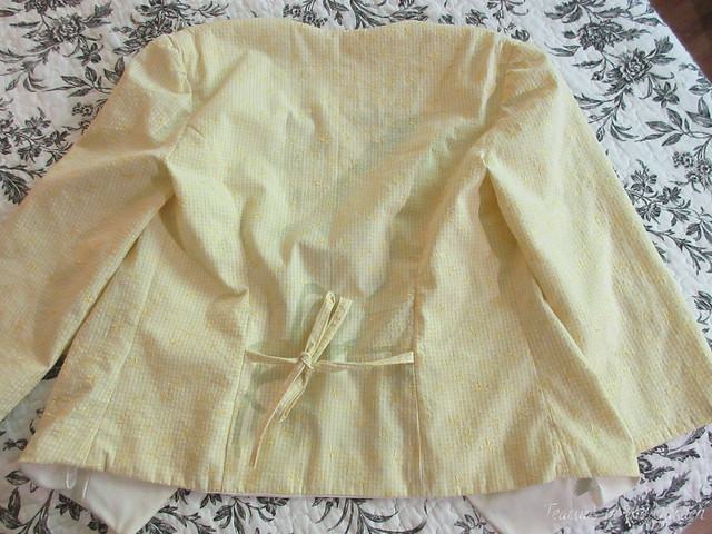 4-Yellow Gingham Embroidered Jacket