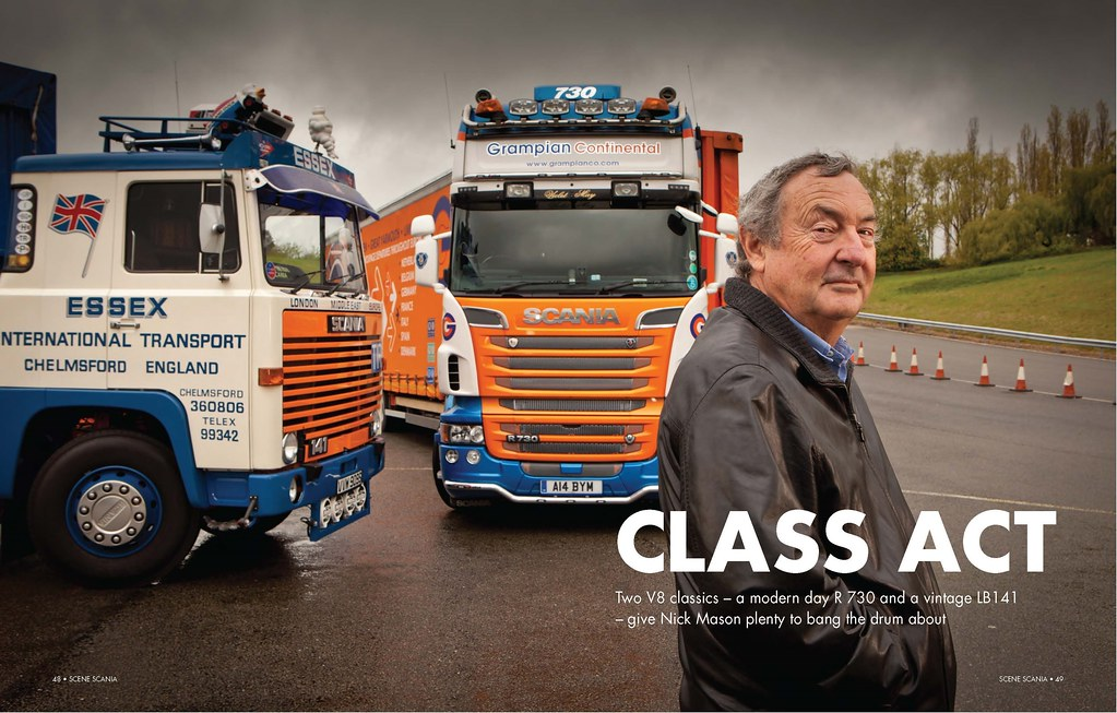 Pink Floyd legend Nick Mason drives Keltruck's classic Scania L141 V8