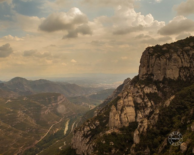 Montserrat, Barcelona / Spain - Sept. 8, 2016: The dramatic mountain of Montserrat, famous for its wind-sculpted rock formations and Benedictine abbey,