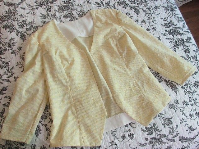 1-Yellow Gingham Embroidered Jacket