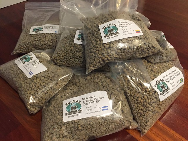 Next batch - 20lbs of green coffee beans