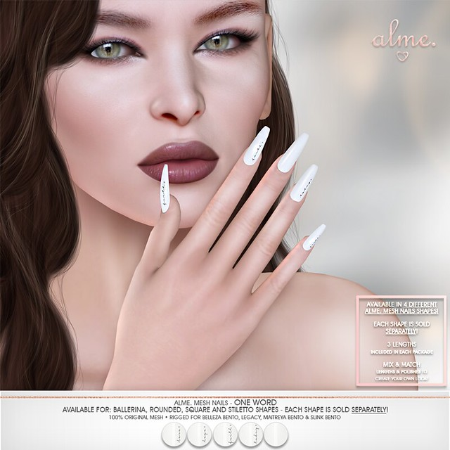 """Alme. in Second Life for The Saturday Sale """"Alme Mesh Nails// One Word"""" in 4 shapes!"""