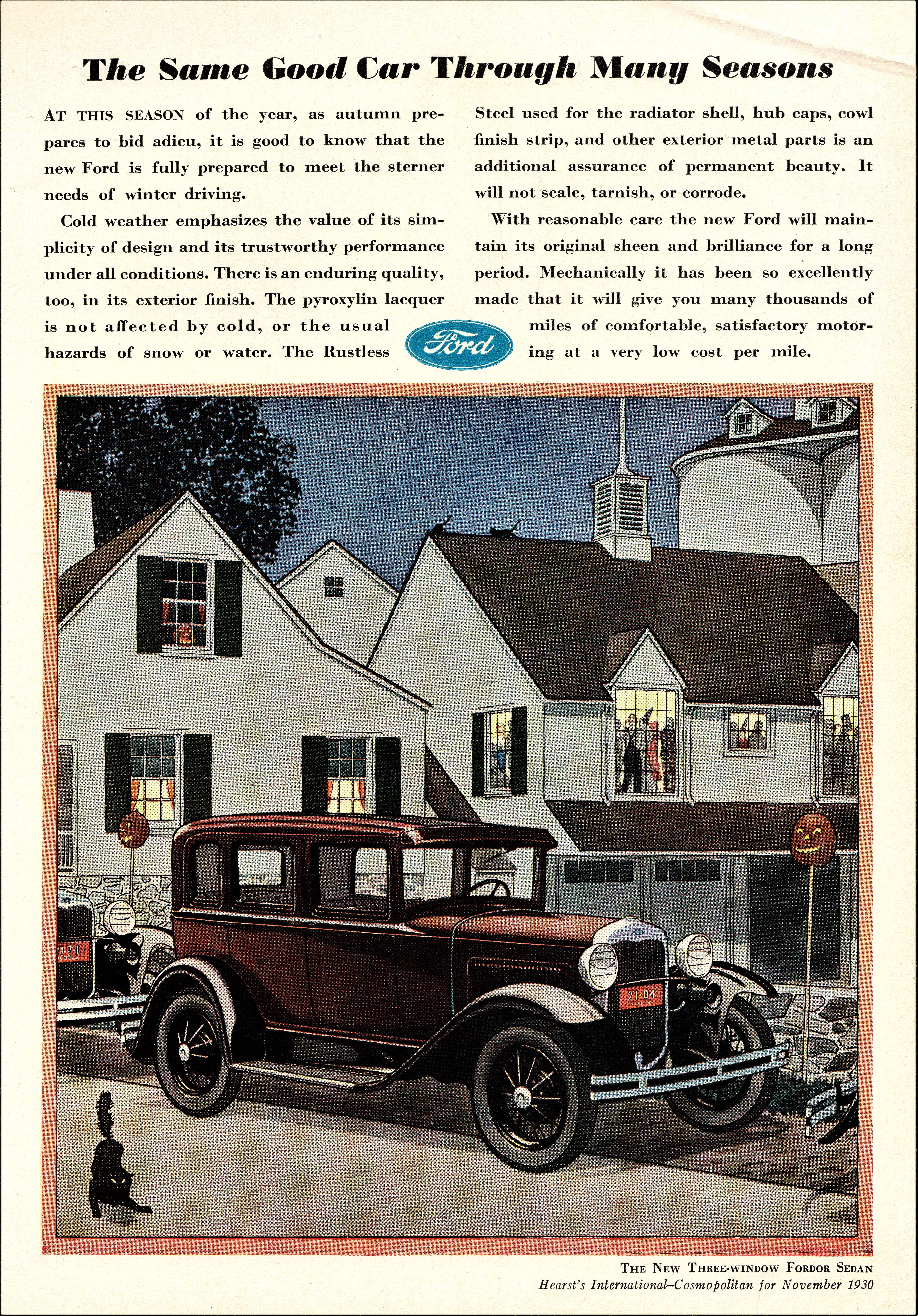 1930 Ford Model A Three-Window Fordor Sedan - Hearst's International-Cosmopolitan - November 1930