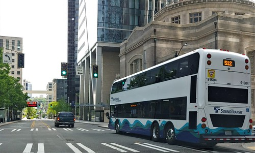 Sound Transit double decker bus servicing downtown Seattle on 5th avenue during Covid 19 shut down.