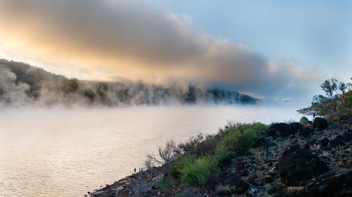 landscape fog sunrise water