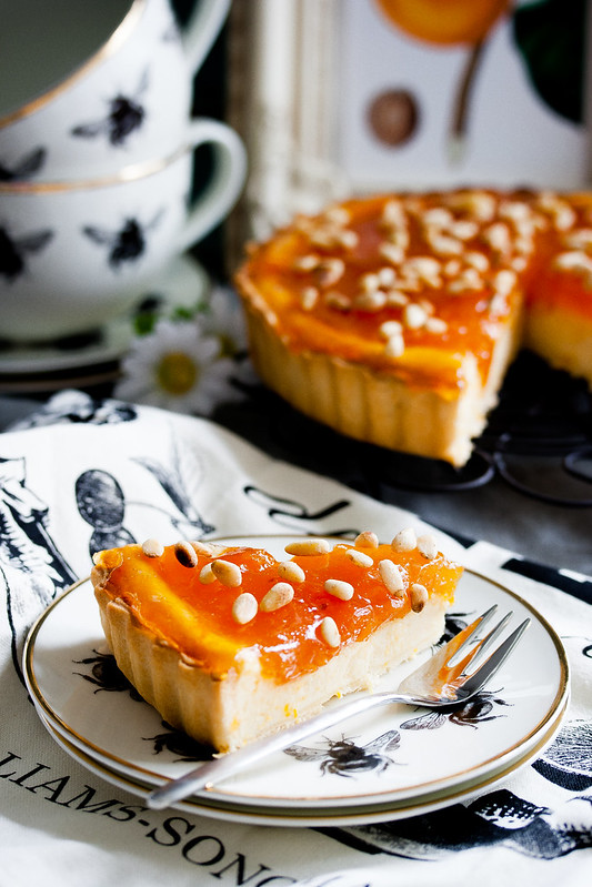 Apricot and ricotta tart with pine nuts