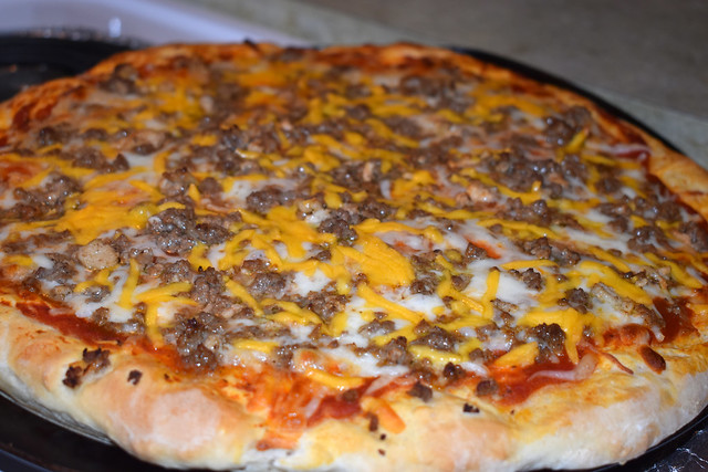 Homemade Cheeseburger Pizza.