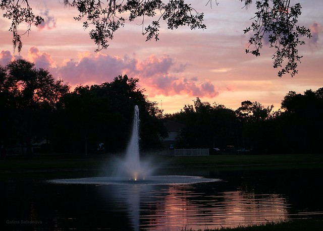 Sunset at the lake with fountain