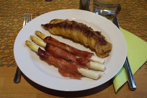 Spargel mit Schinken im Ofen zu Kartoffelgratin (mein 1. Teller)