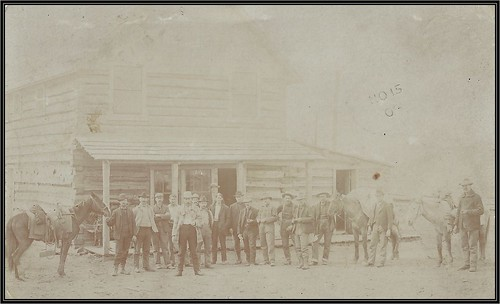c. 1906 Real Photo Covert Postcard - Farmers, Miners & Cowboys in front of the Broughton / McNeil General Store & Post Office at Aldermere, British Columbia