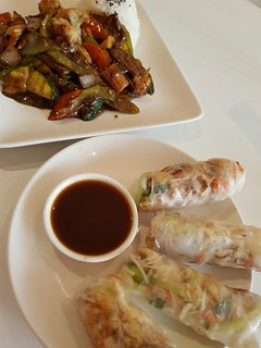Beijing Black Bean and Summer Rolls at Loving Hut