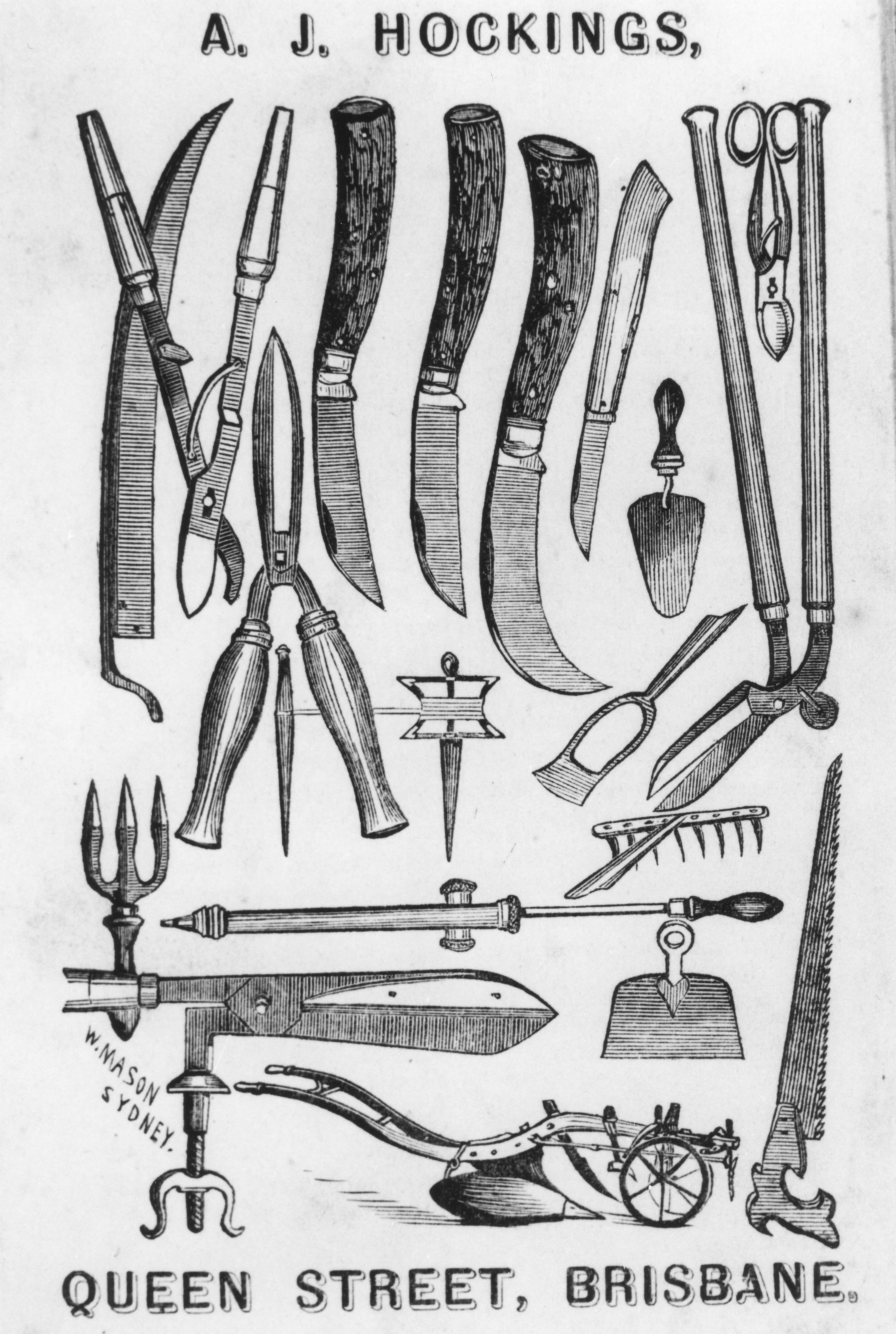 Advertisement featuring gardening tools sold by A. J. Hockings Queen Street Brisbane