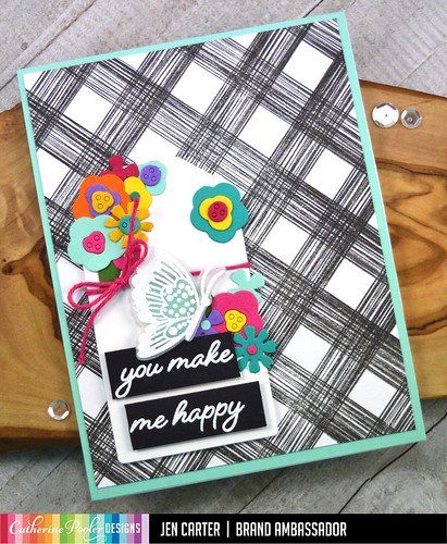 Jen Carter Layered Blooms Sketch Plaid Tag Happy Butterflies