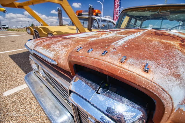 Rusty Edsel at Route 66 Auto Museum in Santa Rosa, New Mexico in HDR