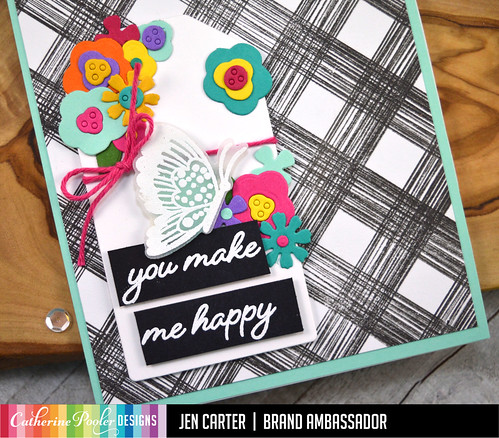 Jen Carter Layered Blooms Sketch Plaid Tag Happy Butterflies Closeup