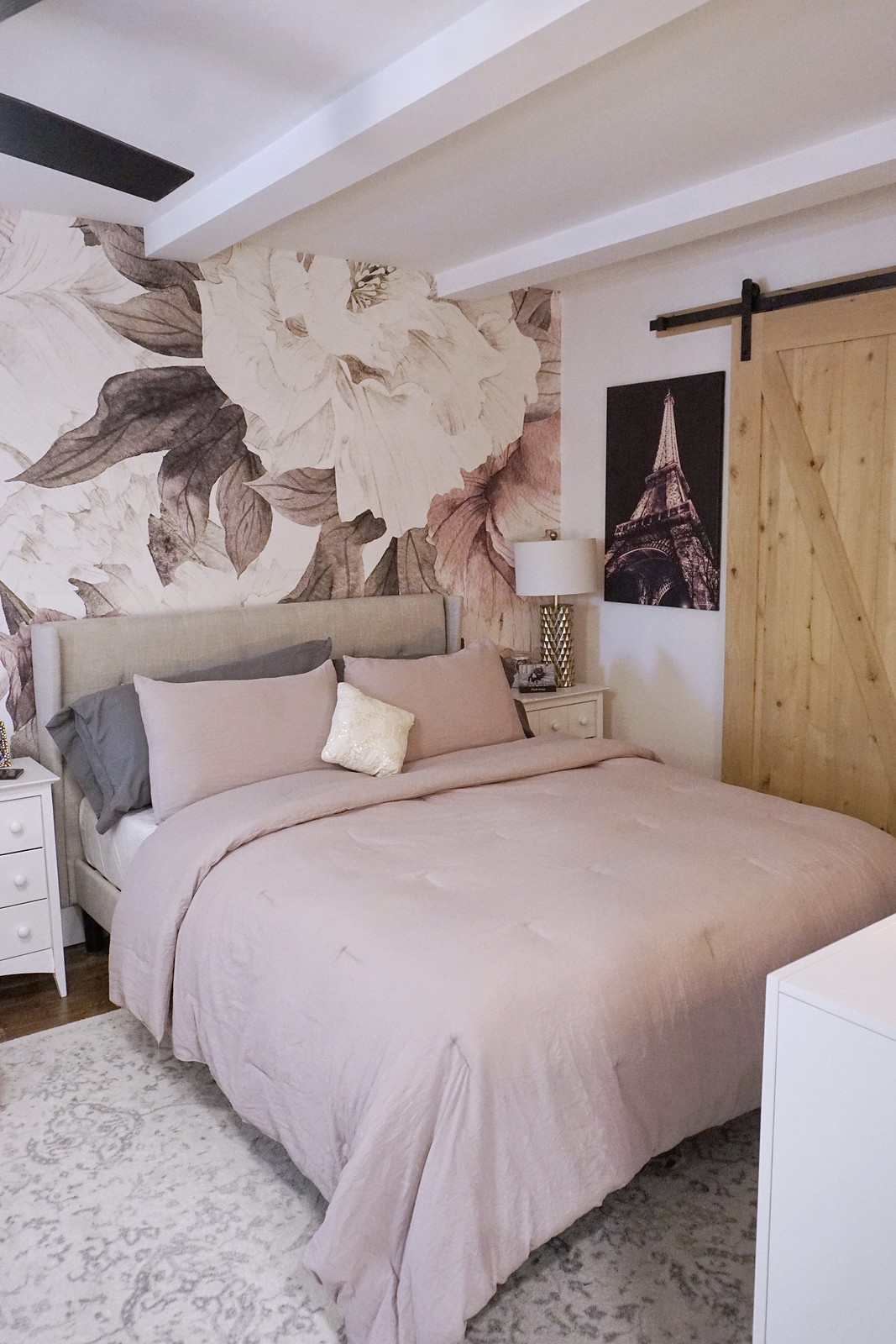 750 square foot New York Apartment After Photos | Feminine Bedroom with Floral Print Mural Wallpaper and Barn Door | Eclectic Modern Decorating Style Home Decor Inspiration