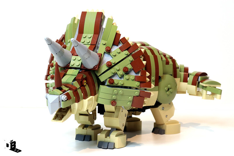 Remote controlled walking Lego Triceratops