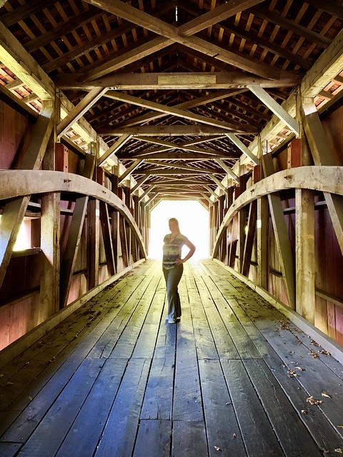 Pennsylvania 2019, covered bridge bursting sunlight